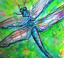 Blue Dragonfly in Spring by M C  Sturman