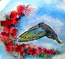 Hummingbird in Flight With Red Flowers by M C  Sturman