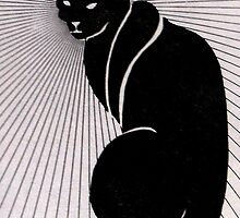 Cat, graphic, black and white by M C  Sturman