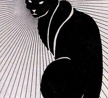 Cat, graphic, black and white by M C  Sturman