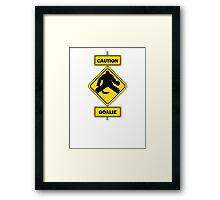 Caution Goalie Sign Framed Print