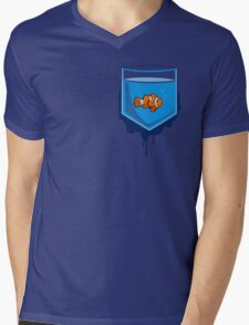 Pocket fish Mens V-Neck T-Shirt