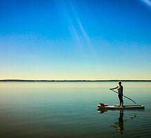 Paddleboard Sun Rays by Douglas Hamilton
