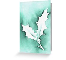 'Holly Leaves' Christmas design - Aquamarkers. Greeting Card
