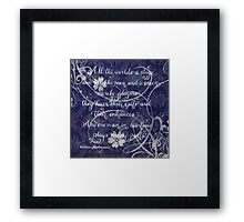 All the world Shakespeare handwritten quote  Framed Print