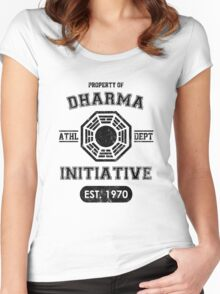 Dharma Initiative athletic department (Black ver.) Women's Fitted Scoop T-Shirt