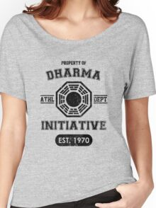 Dharma Initiative athletic department (Black ver.) Women's Relaxed Fit T-Shirt