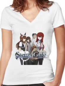 Steins Gate Women's Fitted V-Neck T-Shirt