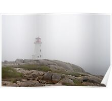 The Lighthouse And Rock At Peggy's Cove Poster