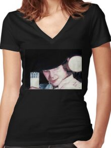 Malcolm McDowell Clockwork Orange portrait Women's Fitted V-Neck T-Shirt