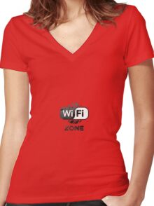 Graphic Design T-Shirts WiFi Zone  Women's Fitted V-Neck T-Shirt