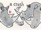 Crash of Rhinos (animal groups series) by dosankodebbie