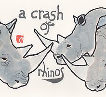 Crash of Rhinos (animal groups series) by dosankodebbie