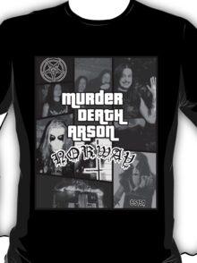 Murder Death Arson: Norway (Black and white) T-Shirt