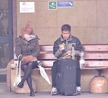 """the fox lady in the station (eating) by Antonello Incagnone """"incant"""""""