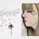 Wish you were here quote with girl drawing by Melissa Goza