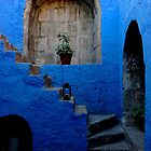 Blue Patio with Stairway by Alessandro Pinto
