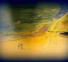 another oreilly original painting half pint n mr o walking towards pt mugu rock by Timothy C O'Reilly