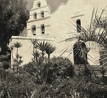 Old Mission San Diego Sepia Print  by Gordon  Beck