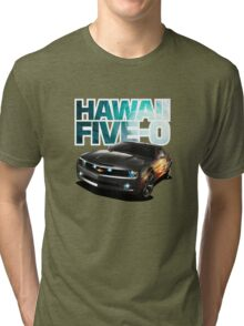 Hawaii Five-O Black Camaro (White Outline) Tri-blend T-Shirt