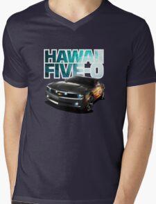 Hawaii Five-O Black Camaro (White Outline) Mens V-Neck T-Shirt