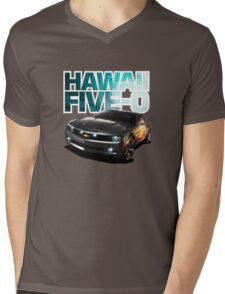 Hawaii Five-O Black Camaro (White Outline) Mens V-Neck T-Shirt