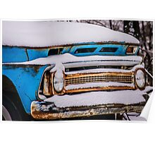 Old Chevy Pickup with Snow Poster