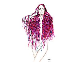 pink hair lady Photographic Print