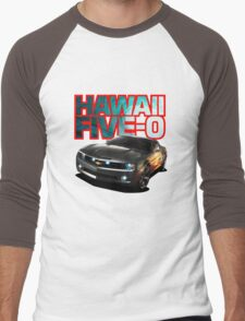 Hawaii Five-O Black Camaro (Red Outline) Men's Baseball ¾ T-Shirt