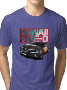 Hawaii Five-O Black Camaro (Red Outline) Tri-blend T-Shirt