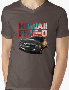 Hawaii Five-O Black Camaro (Red Outline) Mens V-Neck T-Shirt
