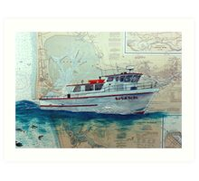Charter Fishing Boat HULA GIRL WA Nautical Map Cathy Peek Art Print