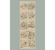 Early 1800s Japanese Drawings of Chūshingura (忠臣蔵) Blue Background Photographic Print