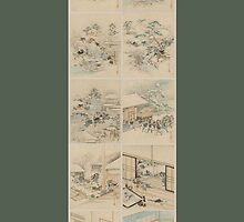 Early 1800s Japanese Drawings of Chūshingura (忠臣蔵) Green Background by caljaysoc