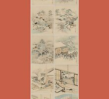 Early 1800s Japanese Drawings of Chūshingura (忠臣蔵) Orange Background by caljaysoc
