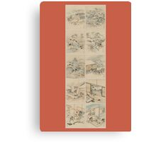 Early 1800s Japanese Drawings of Chūshingura (忠臣蔵) Orange Background Canvas Print