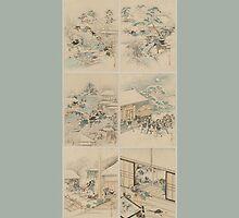 Early 1800s Japanese Drawings of Chūshingura (忠臣蔵) Blue Background by caljaysoc
