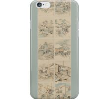 Early 1800s Japanese Drawings of Chūshingura (忠臣蔵) Blue Background iPhone Case/Skin