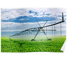 Irrigation equipment on farm field Poster