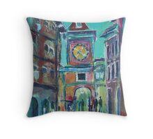 Clock Tower Arcade Throw Pillow