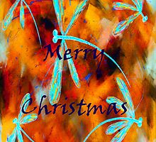 Dragonfly Desert Flit Merry Christmas by lyndseyart