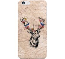 Deer with Birds and Flowers iPhone Case/Skin