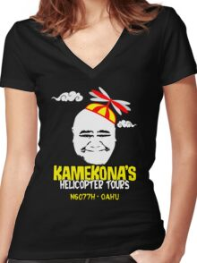 Kamekona's Helicopter Tours Women's Fitted V-Neck T-Shirt