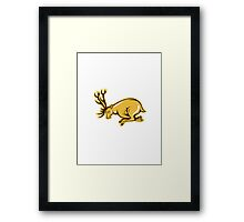 Deer Charging Side Cartoon Framed Print