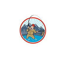 Fly Fisherman Catching Trout Fish Cartoon Photographic Print