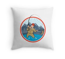 Fly Fisherman Catching Trout Fish Cartoon Throw Pillow