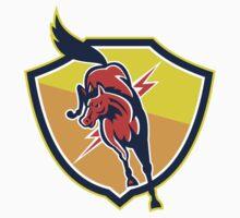 Red Horse Jump Lightning Bolt Shield Retro T-Shirt