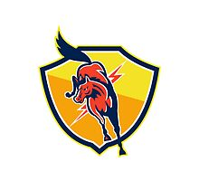 Red Horse Jump Lightning Bolt Shield Retro by patrimonio