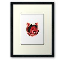 Red Horse Head Horseshoe  Framed Print