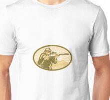 Hunter Aiming Rifle Oval Retro Unisex T-Shirt